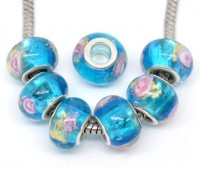 Perles Lampwork , perles de Murano et argent  15 x 9 et trou 4.5 mm X 10