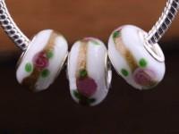 Perles Lampwork , perles de Murano et argent  15 x 9 et trou 4.5 . X 10