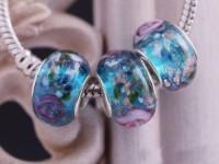 Perles Lampwork ,Verre de Murano et argent    15 x 9 et trou 4.5....verte et fleur X 10  Perles