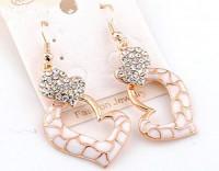 Boucles d'oreilles coeur  cristal plaqué or blanc