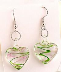 Coeur Murano en verre ,boucles d'oreilles