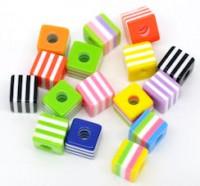 Mixte Perles Cubes Rayées Résine 10x9mm X 10
