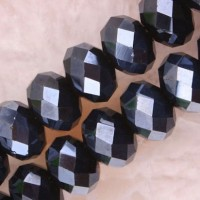 Perles  Cristal hematite  (noir/bleu) 6x8mm X 35