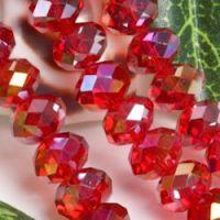 Perles  Cristal rouge AB 6x8mm X 70