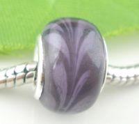 Perles Lampwork , perles de Murano 13x9mm purple  X 10