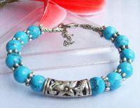 Beau, Bracelet  turquoise & argent tibétain