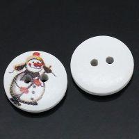 Boutons en Bois Rond Blanc 2 Trous Bonhomme de Neige Noël 15mm X 20