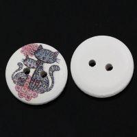 Boutons en Bois Motif Fleur Chat Multicolore 2 trous 15mm  X 10