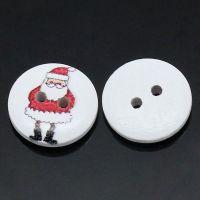 Boutons en Bois Rond Blanc 2 Trous Père Noël 15mm  X 10
