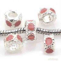 Perles Dia:9mm,Dia trou:4.5mm Rose X 10