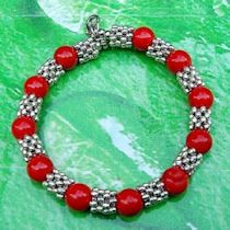 Bracelet argent tibétain corail rouge, 19cm X 1