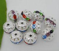 Perles Strass Ajourées Argentées ou dorees 10x9.5mm  X 10
