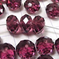 Perles rose fuschia 4x6mm 