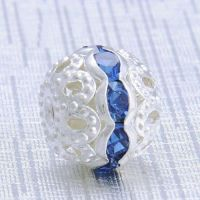 Boules rondes strass blue 8 mm