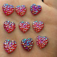 Coeur résine de 12mm rouge  Scrapbooking  avec trous coudre ou coller X 5
