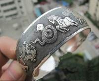 Bracelet argent du tibet douze zodiaque  Diametre 6 cm et largeur 2.2 cm
