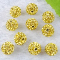 Boules rondes strass disco jonquil  10 mm X 10