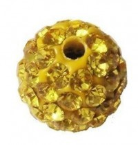 Boules rondes strass jaune disco  10 mm X 4