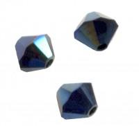 Toupies en crystal 4 mm Crystal metallic blue AB X 100