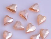 Coeur en crystal 12 mm Gold amber X 10