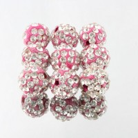 Boules rondes strass disco rose et cristal 