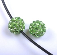 Boules rondes strass disco peridot 10 mm X 10
