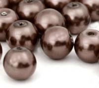 Perles Nacrées Rondes marron  8mm  X 25
