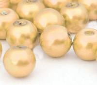 Perles Nacrée  Rondes jaune  8mm X 25