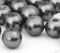 Perles Nacrée Rondes gris foncé 8mm X 25