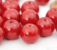 Perles Nacrée  Rondes rouge corail 8mm X 25
