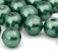 Perles Nacrée Rondes vert fonce 8mm X 25