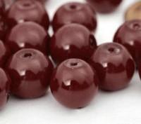 Perles Nacrée Rondes bordeaux 8mm X 25
