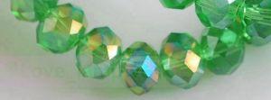 Perles crystal 2 x 3 mm Peridot AB X 200