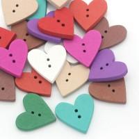 Mixte boutons en bois coeur couture Scrapbooking 24mm x 23mm X 10