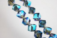 Cubes en crystal  light green AB 10 mm X 10