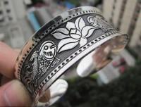 Bracelet argent poisson Diametre 6 cm et largeur 2.2 cm