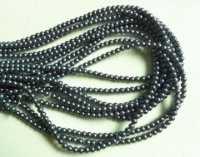 Perles 4 mm rondes en verre tchèque  Dark grey Diametre du trou 1 mm X 200