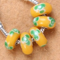 Perles Lampwork , perles de Murano et argent 14 x 7 et trou 4.5 mm  X 5