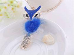 Minky bleu 8.5 x 3.5 + chaine 72 cm