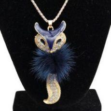 Minky Bleu fonce 8.5 x 3.5 + chaine 72 cm