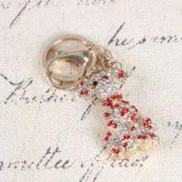 chien crystal ( anneau + pince accroche sac  ceinture ) 5 x 2.6 cm