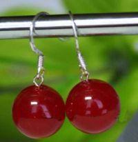 Boucles d'oreilles, rouge jade 10 mm
