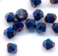 Toupies en crystal 4 mm Bleu nuit X 100
