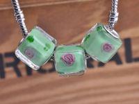 Perles Lampwork , perles de Murano et argent  Cube 12 mm X 5 Perles