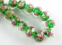 Perles Lampwork , perles de Murano et argent  12 mm et trou 1.2 mm X 10