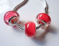 Perles Lampwork , perles de Murano 925 silver 14 x 9 et trou 4.5 mm X 5