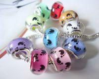Perles Lampwork , perles de Murano et argent 925 silver 14 x 9 et trou 4.5 mm X 10