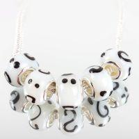 Perles Lampwork , perles de Murano et argent 14 x 8 et trou 4.5  X 5