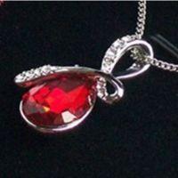 cristal strass  plaqué argent chaîne collier pendentif