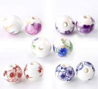 Perles ceramique 12 mm fleur X 5